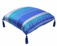 Moroccan Floor Cushion Pillow Blue Sabra Cactus  Silk with Tassels 70 cm x 70 cm / 27.6 x 27.6 (CS1)